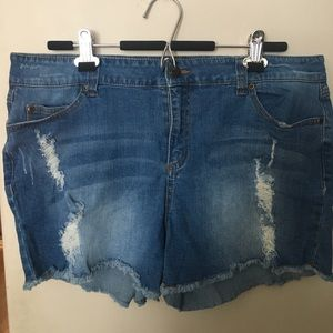F21+ distressed denim shorts